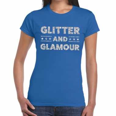 Goedkope glitter and glamour zilver fun t shirt blauw voor dames