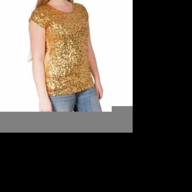 Goedkope glitter pailletten stretch shirt goud dames l/ xl