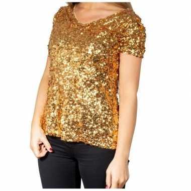 Goedkope glitter pailletten stretch shirt goud dames