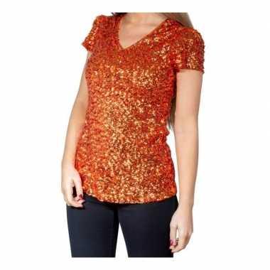 Goedkope glitter pailletten stretch shirt oranje dames