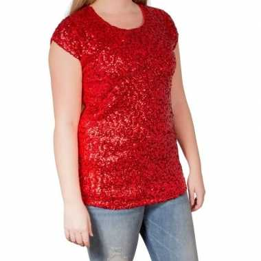 Goedkope glitter pailletten stretch shirt rood dames l/ xl