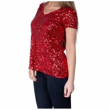 Goedkope glitter pailletten stretch shirt rood dames