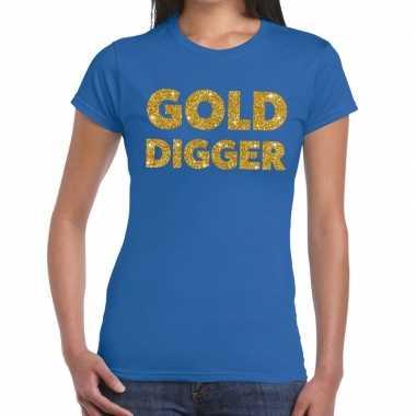 Goedkope gold digger fun t shirt blauw voor dames