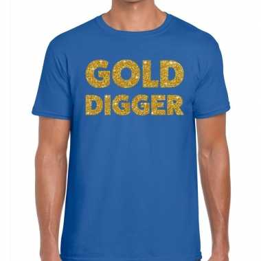 Goedkope gold digger fun t shirt blauw voor heren