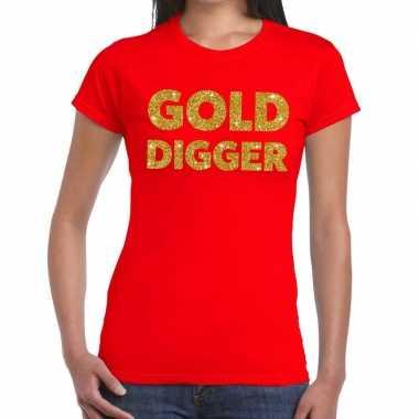 Goedkope gold digger fun t shirt rood voor dames