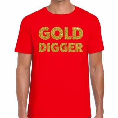 Goedkope gold digger fun t shirt rood voor heren