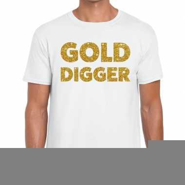 Goedkope gold digger fun t shirt wit voor heren