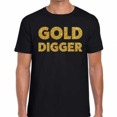 Goedkope gold digger fun t shirt zwart voor heren