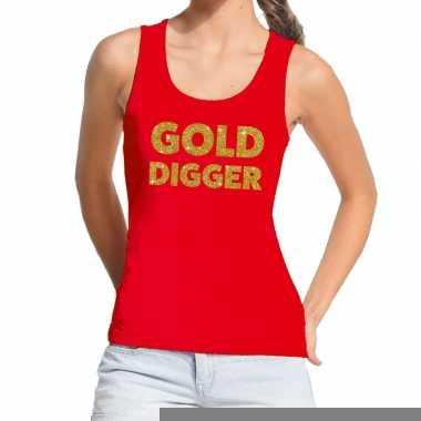 Goedkope gold digger fun tanktop / mouwloos shirt rood voor dames