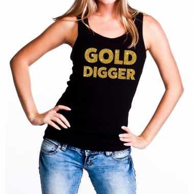 Goedkope gold digger fun tanktop / mouwloos shirt zwart voor dames