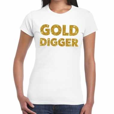 Goedkope gold digger goud fun t shirt wit voor dames