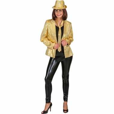 Goedkope goud dames jasje met pailletten