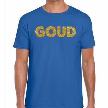 Goedkope goud fun t shirt blauw voor heren