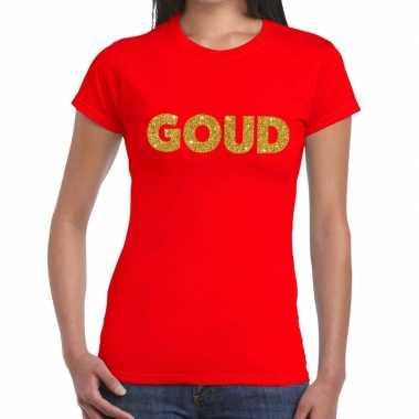Goedkope goud fun t shirt rood voor dames