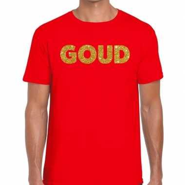 Goedkope goud fun t shirt rood voor heren