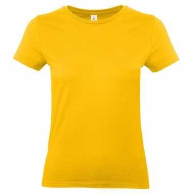 Goedkope goud gele shirt met ronde hals voor dames