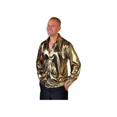 Goedkope gouden disco overhemd voor heren