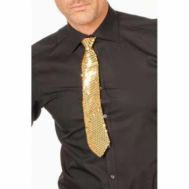 Goedkope gouden glitter verkleed stropdassen 32 cm voor dames/heren