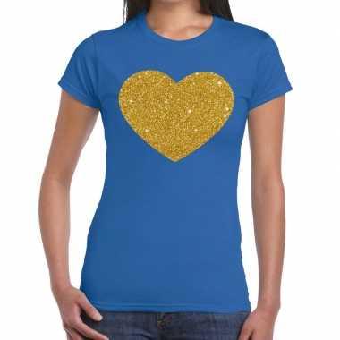 Goedkope gouden hart fun t shirt blauw voor dames