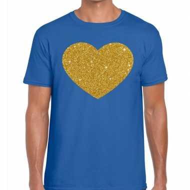 Goedkope gouden hart fun t shirt blauw voor heren