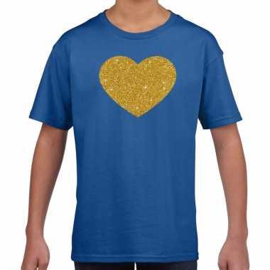 Goedkope gouden hart fun t shirt blauw voor kids