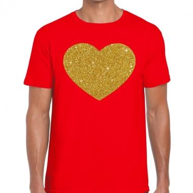 Goedkope gouden hart fun t shirt rood voor heren