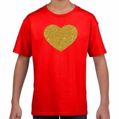 Goedkope gouden hart fun t shirt rood voor kids