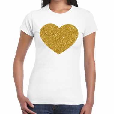 Goedkope gouden hart fun t shirt wit voor dames
