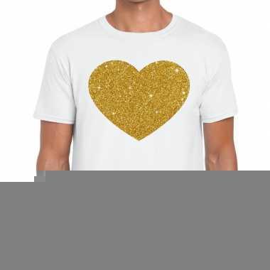 Goedkope gouden hart fun t shirt wit voor heren