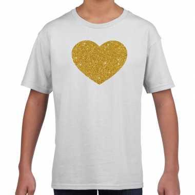 Goedkope gouden hart fun t shirt wit voor kids