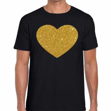 Goedkope gouden hart fun t shirt zwart voor heren