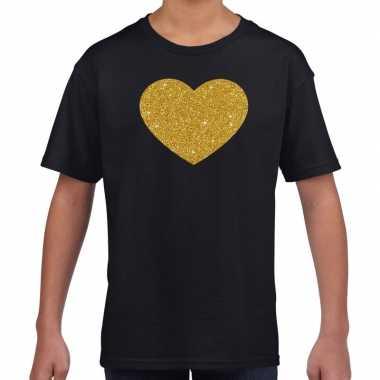 Goedkope gouden hart fun t shirt zwart voor kids