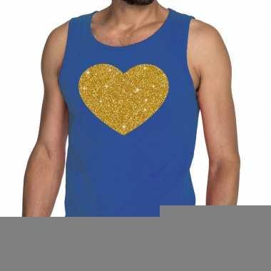 Goedkope gouden hart fun tanktop / mouwloos shirt blauw voor heren