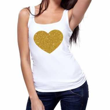 Goedkope gouden hart fun tanktop / mouwloos shirt wit voor dames