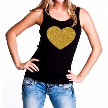 Goedkope gouden hart fun tanktop / mouwloos shirt zwart voor dames