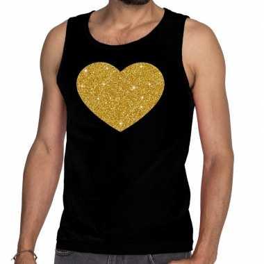 Goedkope gouden hart fun tanktop / mouwloos shirt zwart voor heren