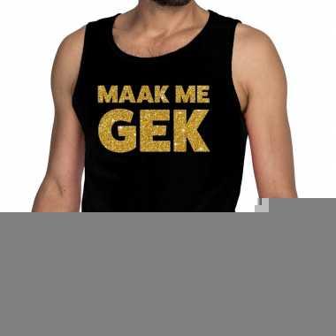 Goedkope gouden maak me gek fun tanktop / mouwloos shirt zwart voor h