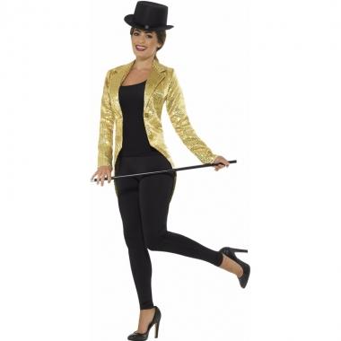 Goedkope gouden pailletten circus jas voor dames