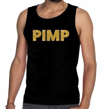 Goedkope gouden pimp fun tanktop / mouwloos shirt zwart voor heren