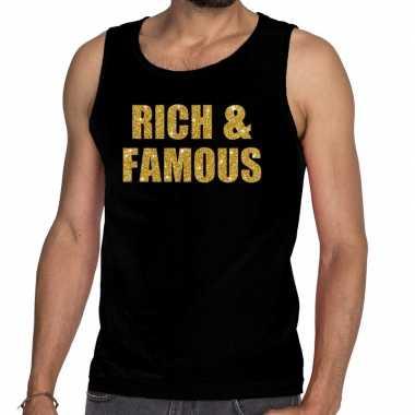Goedkope gouden rich & famous fun tanktop / mouwloos shirt zwart