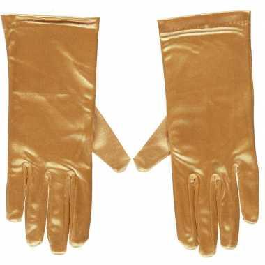 Goedkope gouden satijnen verkleed handschoenen 20 cm