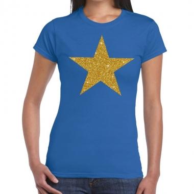 Goedkope gouden ster fun t shirt blauw voor dames