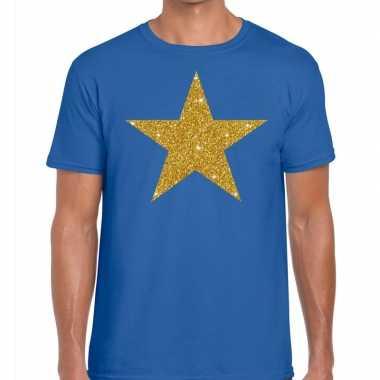 Goedkope gouden ster fun t shirt blauw voor heren