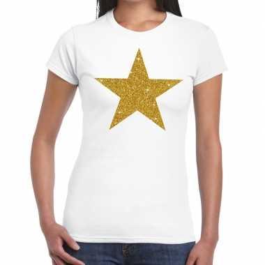 Goedkope gouden ster fun t shirt wit voor dames