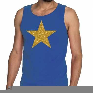 Goedkope gouden ster fun tanktop / mouwloos shirt blauw voor heren