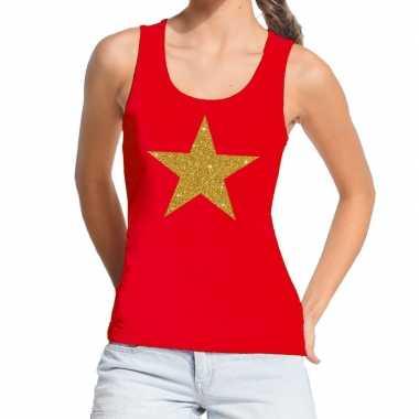 Goedkope gouden ster fun tanktop / mouwloos shirt rood voor dames