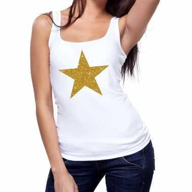Goedkope gouden ster fun tanktop / mouwloos shirt wit voor dames