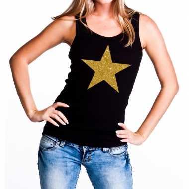 Goedkope gouden ster fun tanktop / mouwloos shirt zwart voor dames