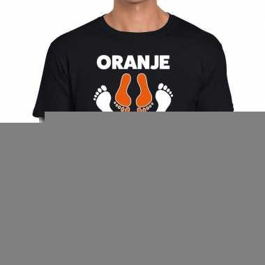 Goedkope grappig oranje boven t shirt zwart voor koningsdag of het ek