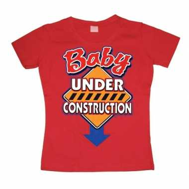 Goedkope grappig shirt baby under construction dames